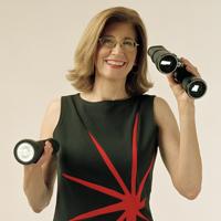 Carol with binoculars