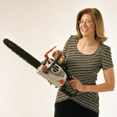 Carol with chainsaw